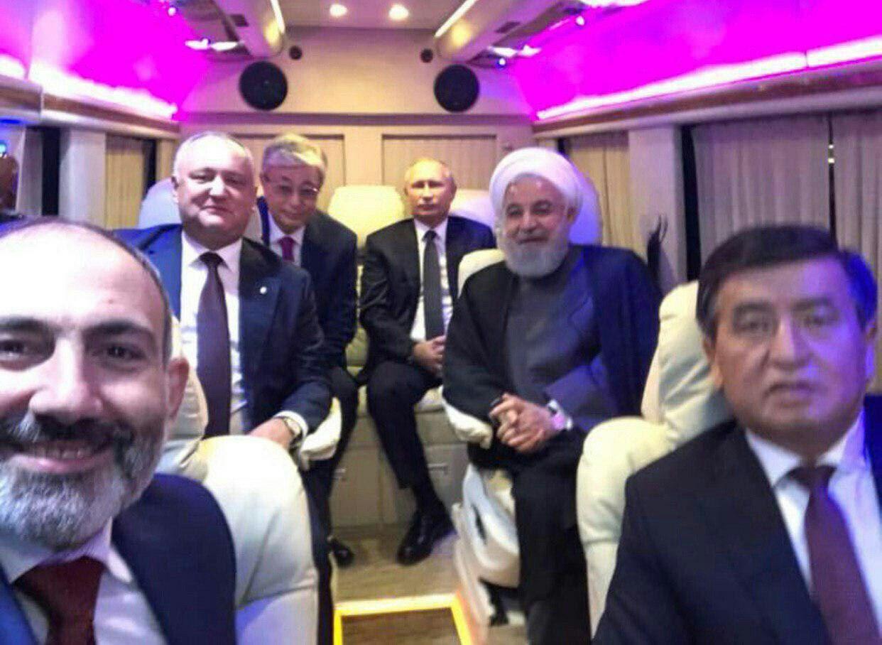 سلفی نخست وزیر ارمنستان با روحانی و دیگر سران اوراسیا